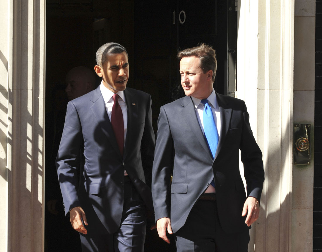 President Barak Obama meets David Cameron at No.10 Downing Street, London.