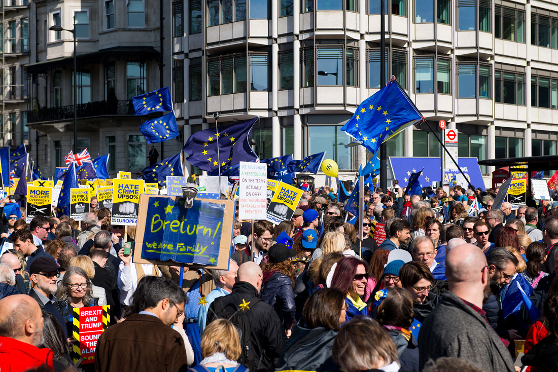 Thousands gather for the UNITE FOR EUROPE rally, through central London, in protest against the British governments' BREXIT from the European Union.