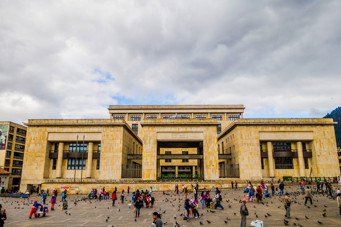 BOGOTA, COLOMBIA - FEBRUARY 9, 2015: Palace of Justice, a cultural and historical landmark in Plaza Bolivar, Bogota.
