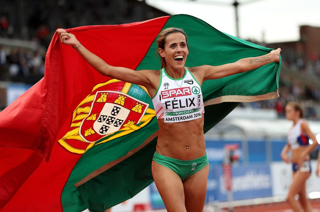 JULY 06: Dulce Felix of Portugal celebrates after winning the silver medal in the womens 10,000m final on day one of The 23rd European Athletics Championships at Olympic Stadium on July 6, 2016 in Amsterdam, Netherlands.