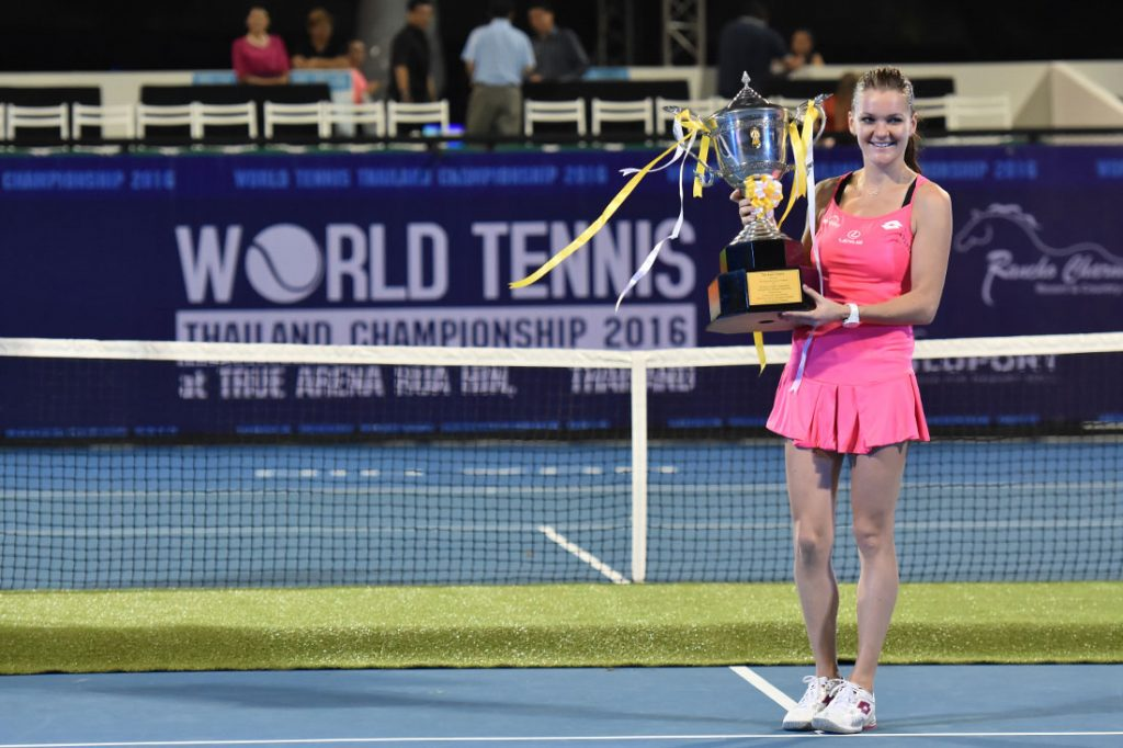 Agnieszka Radwanska celebrates winning the gold medal during WORLD TENNIS THAILAND CHAMPIONSHIP 2016