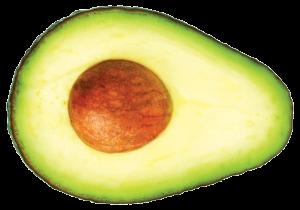 one slice of avocado isolated on white background