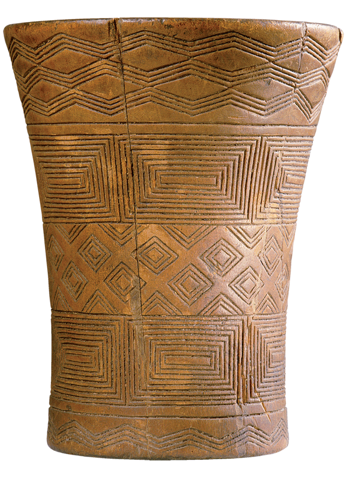ritual drinking vessel is decorated with Inca geometric designs