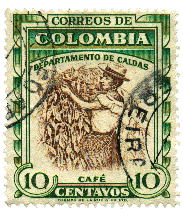 A stamp printed in Colombia shows coffee harvesting, circa 1940