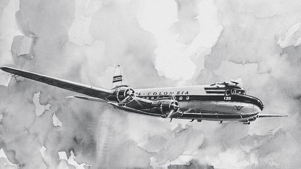 Black and white painting of The Douglas DC4