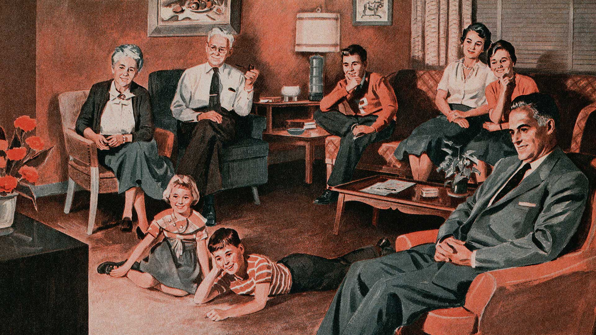 Vintage illustration of three generations of an American family watching television, 1956.