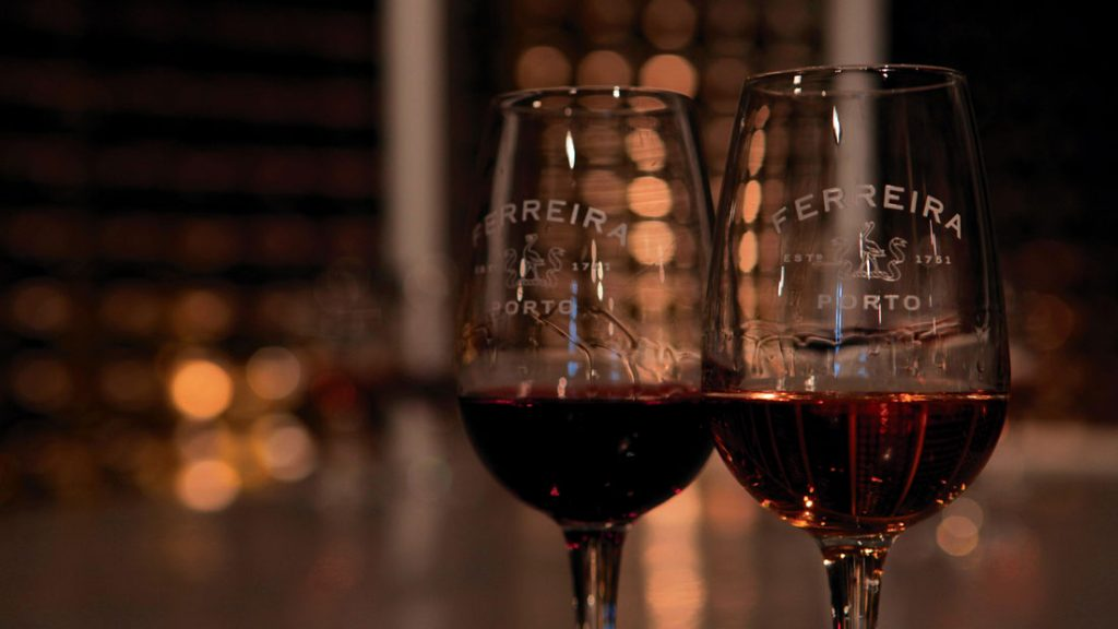 Two glasses of wine at Casa Ferreira