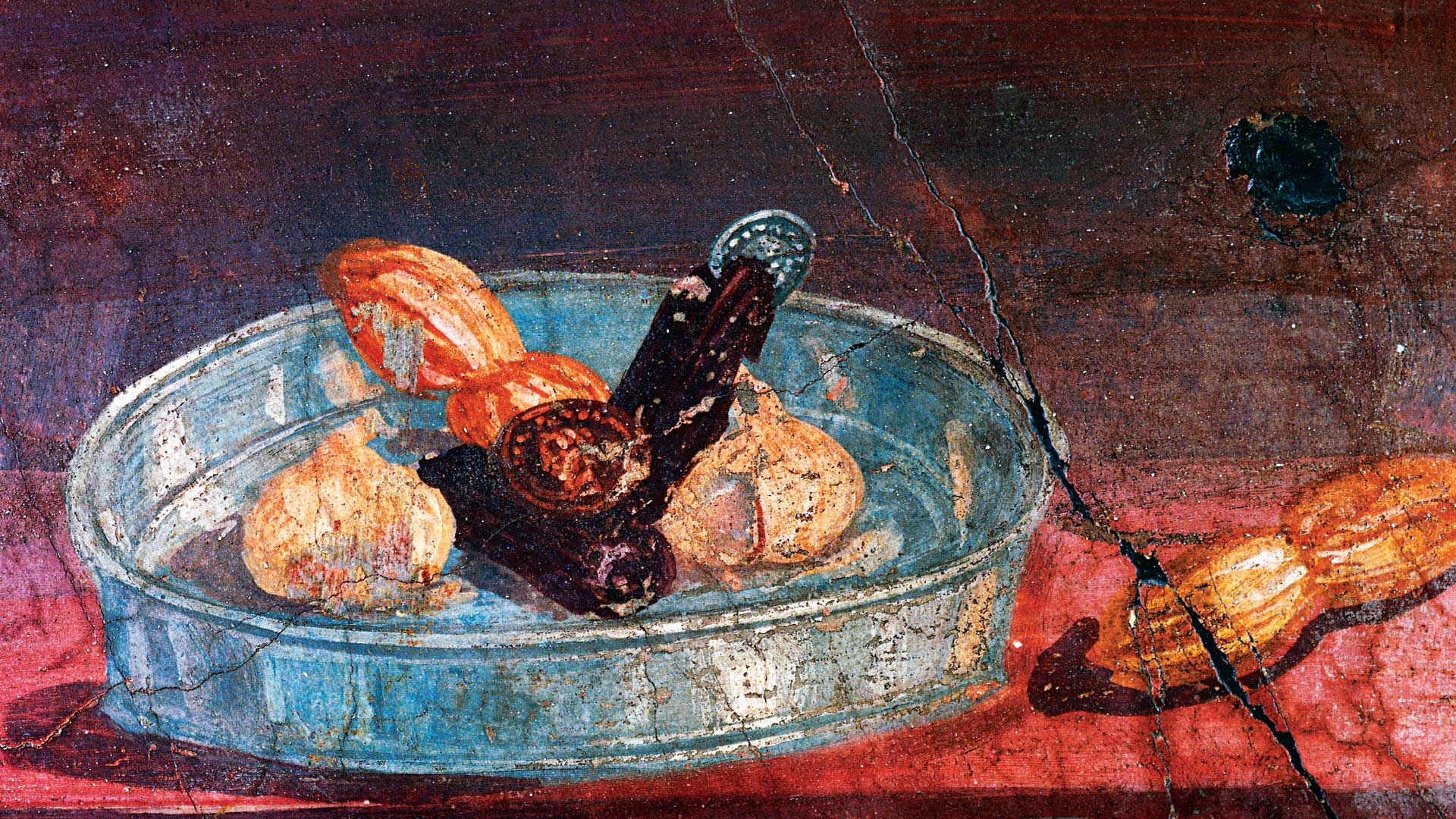Still life with garlic, dates and honey, two gold and silver coins between fruit, wall painting from House of Deer, Herculaneum