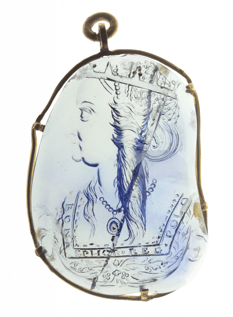 Portrait of Bona Sforza, Queen of Poland from 1517,by Giovanni Jacopo Caraglio, carved sapphire