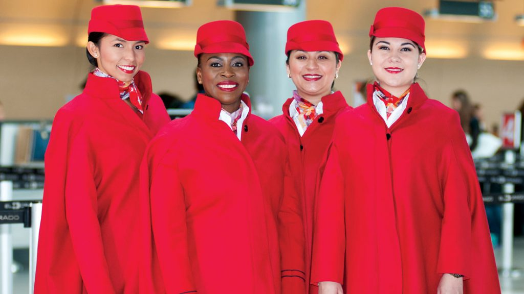 Avianca crew looks, ladies dressed in red