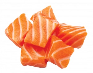 Raw salmon sushi meat cubes