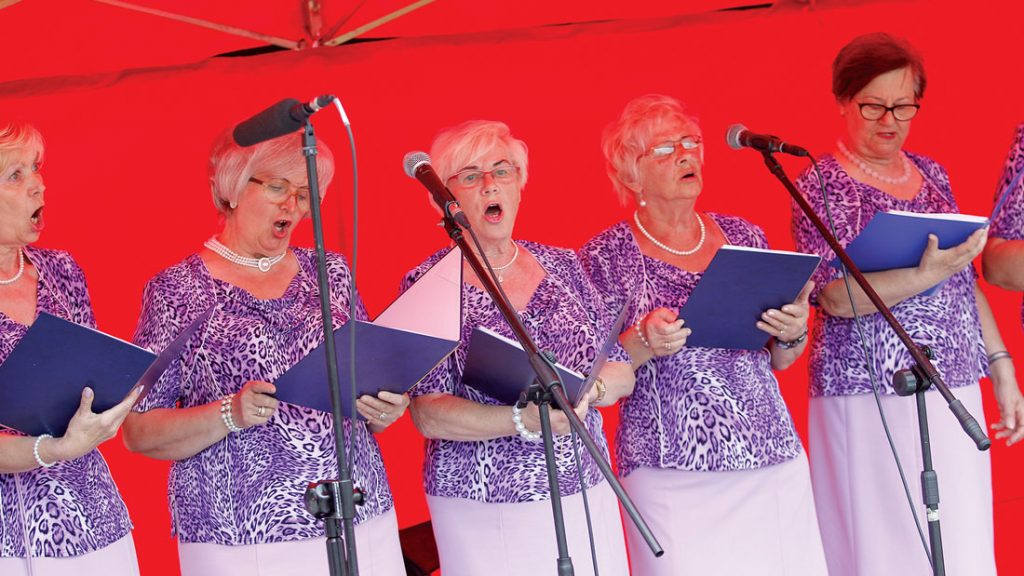 A group of women perform folk songs