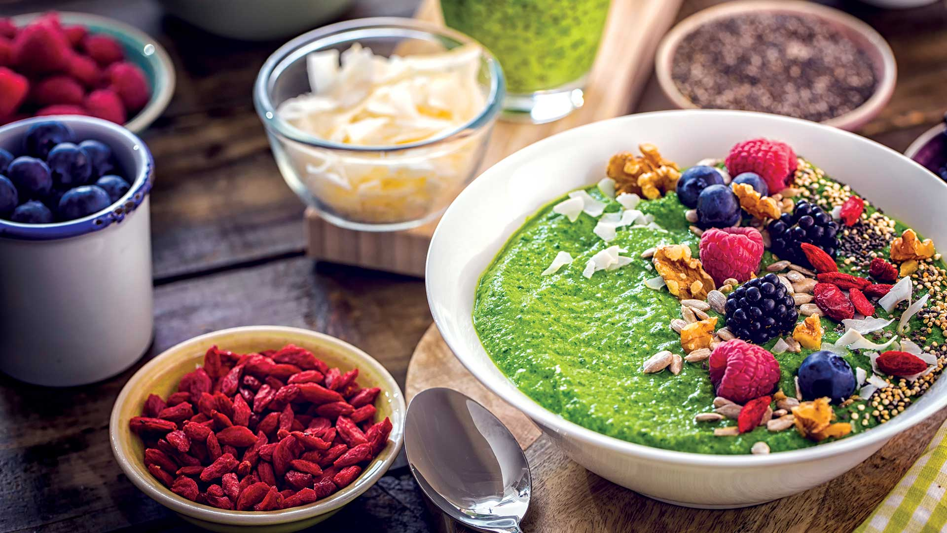 Healthy breakfast - colorful and tasty food with special powers