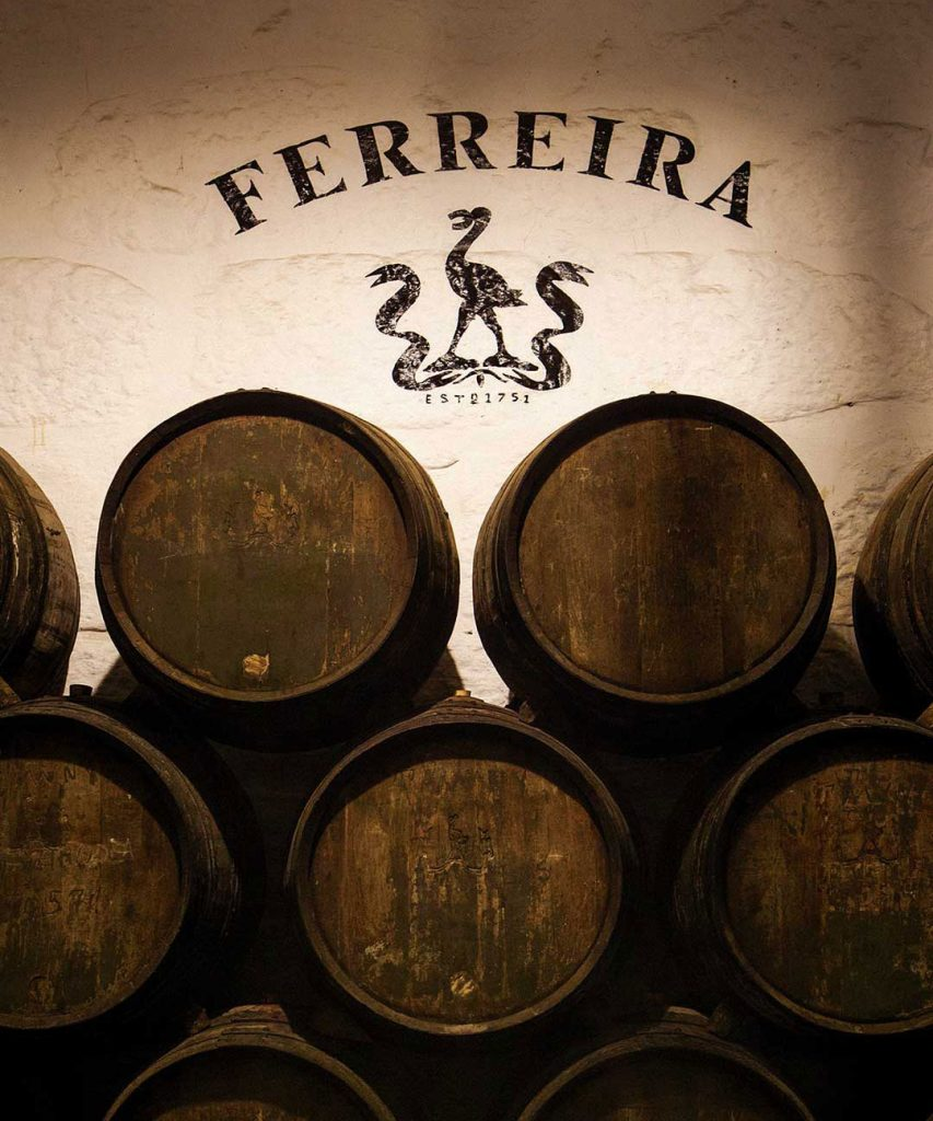 Ferreira Wine barrels with logo