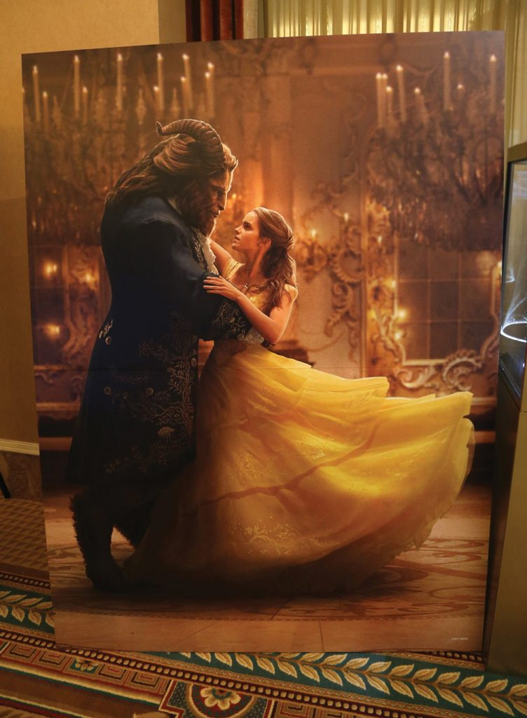 A backdrop from the movie 'Beauty and the Beast' is displayed for auction during CinemaCon at Caesars Palace on March 27, 2017 in Las Vegas