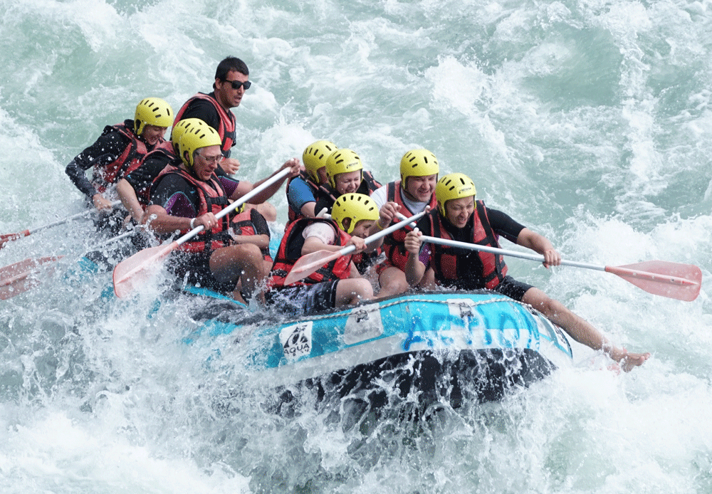 Water rafting on the rapids of river Koprucay at Koprulu Canyon, Turkey. Koprucay River is the most popular for rafters in Turkey
