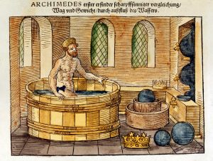 Archimedes in his bath, 1547. Sixteenth-century hand-coloured woodcut of the Greek mathematician and inventor who discovered formulae for calculating areas and volumes of planes and solid figures.