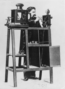 The Cinematographe Lumiere, film projector used in England, invented by Louis and Auguste Lumiere.
