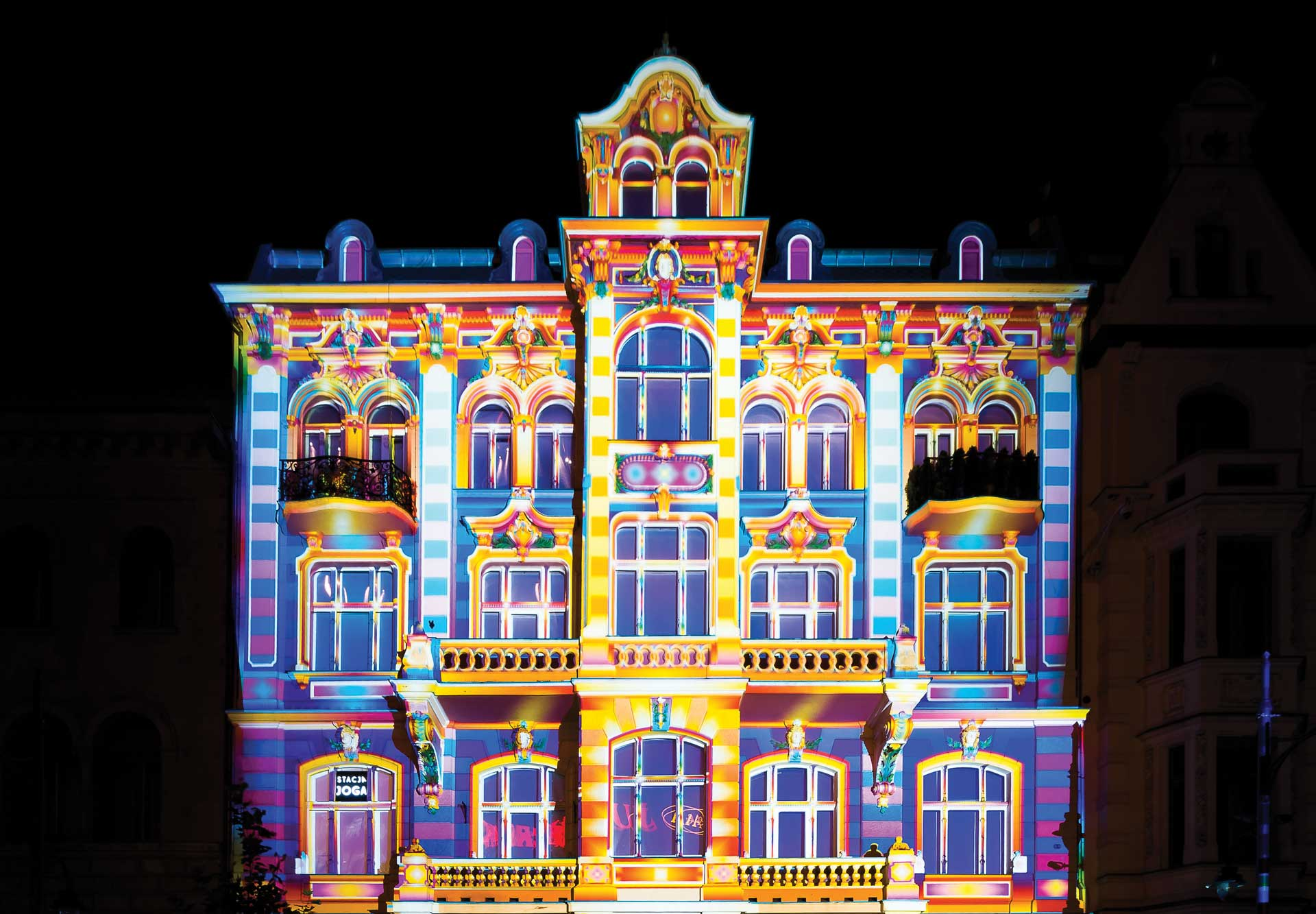 Colourful lights on building