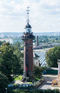 Nowy Port Lighthouse on 16 September 2017 in Gdansk, Poland. The lighthouse was built in 1893