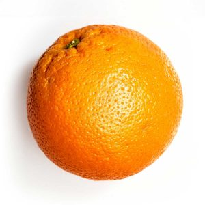 Photography of an orange on white background