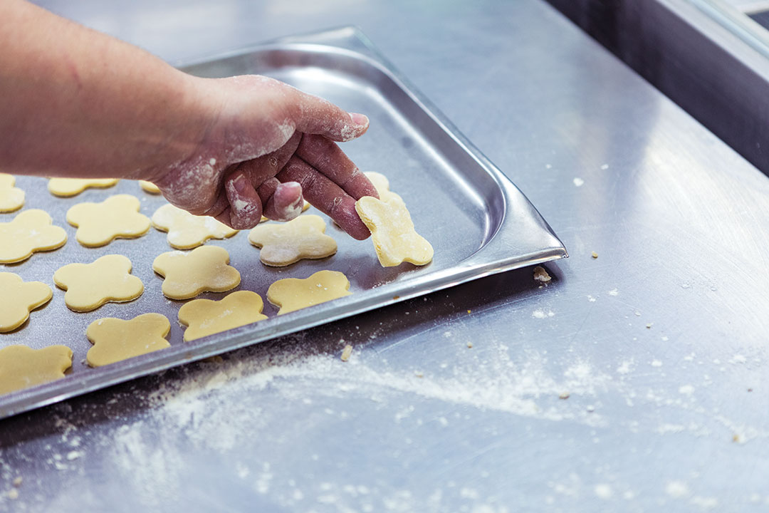 Preparing cookies to oven