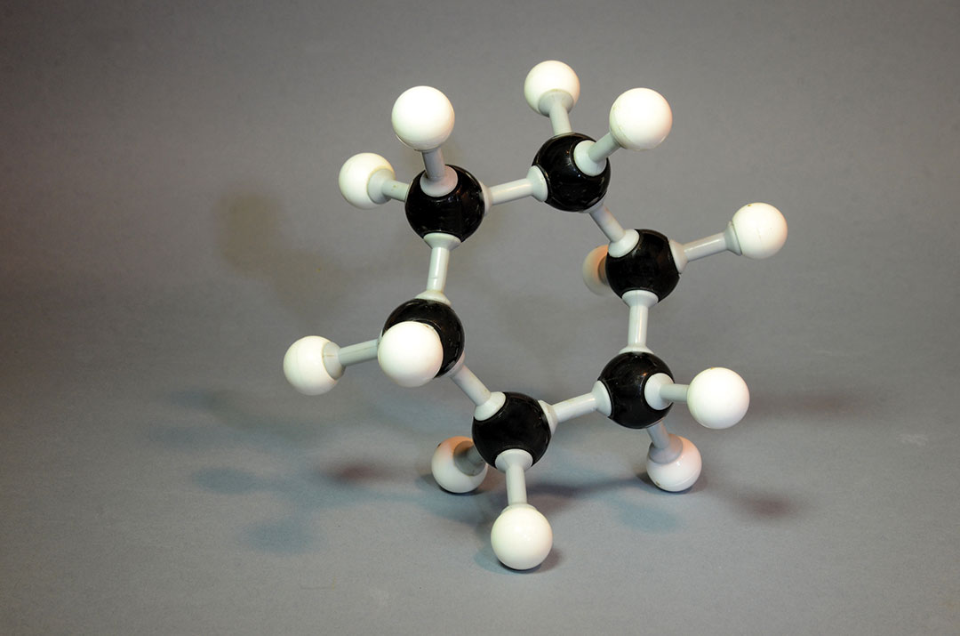 Molecule model of Benzene with its ring formed structure.
