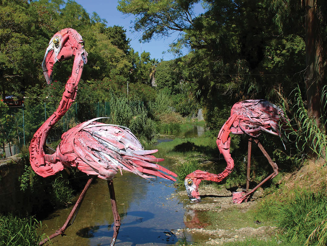 "In Oeiras city Bordalo II took part of Festival Iminente with the installation ""Flamingos""."