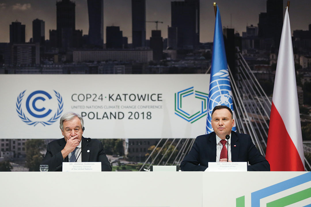 Antonio Guterres and Andrzej Duda during the press meeting at COP 24, the 24th Conference of the Parties to the United Nations Framework Convention on Climate Change
