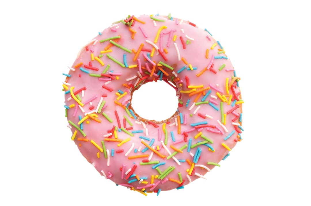 single pink donut, isolated on white background