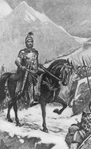 Carthaginian general Hannibal (247 - c.183 BC) leads his army across the Alps into Italy, during the Second Punic War between Rome and Carthage, 218 BC.