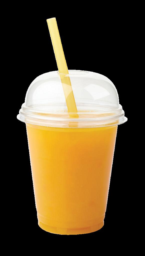 Take away glass of fresh orange juice isolated on white background