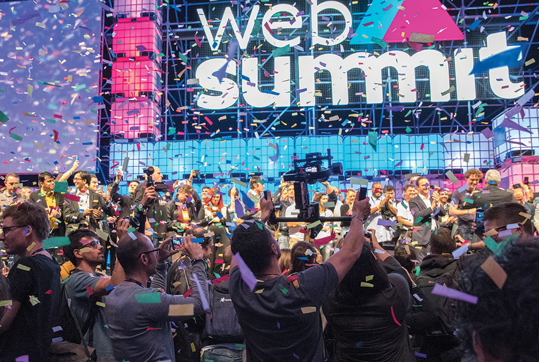 Confetti drops from the ceiling after Portuguese Prime Minister Antonio Costa and Lisbon Mayor Fernando Medina pushed the button to officially inaugurate Web Summit 2017 in Altice Arena on November 06, 2017 in Lisbon, Portugal.
