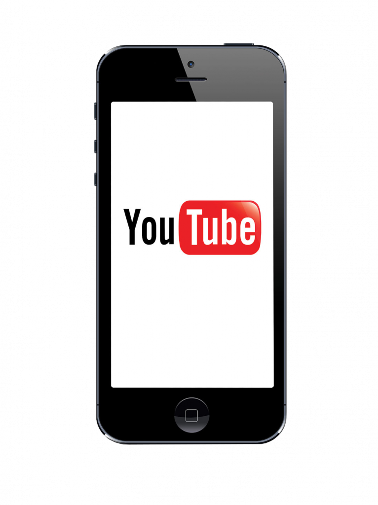 Iphone 5s with Youtube logo on the screen on white background, Youtube is a video sharing website