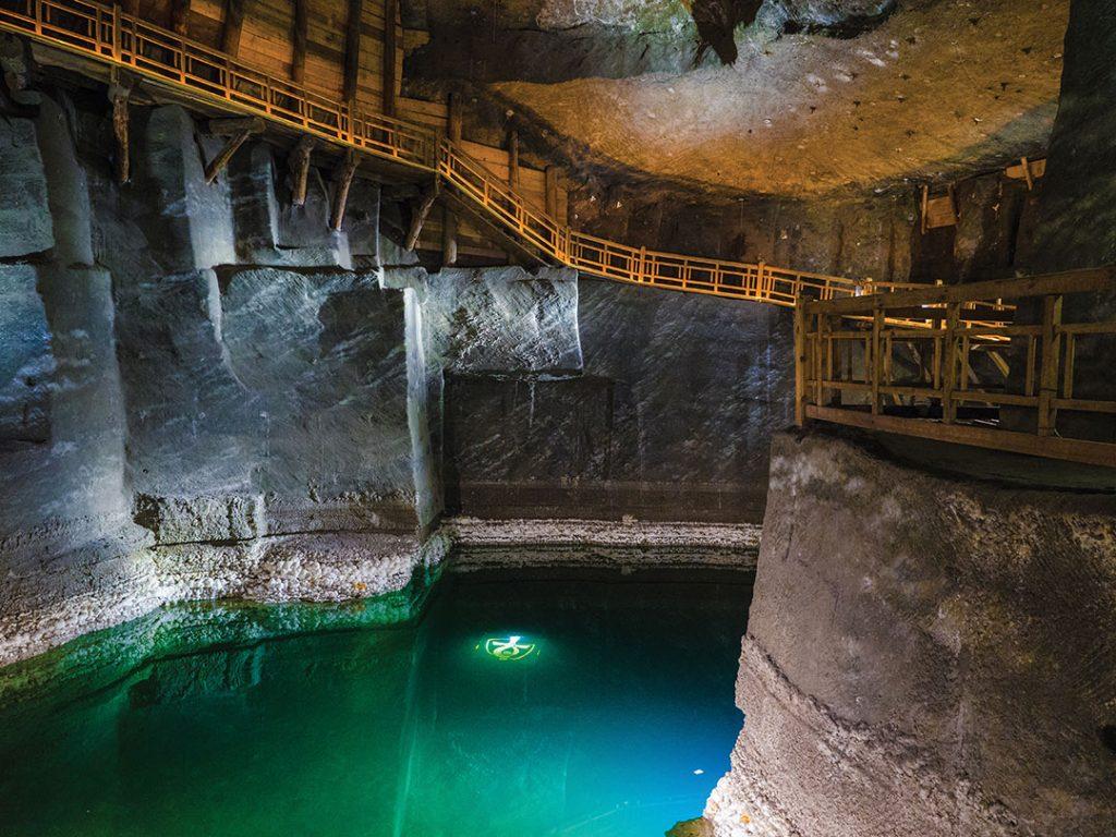 Salt mine in Poland. Lake in the salt mine of Wieliczka.