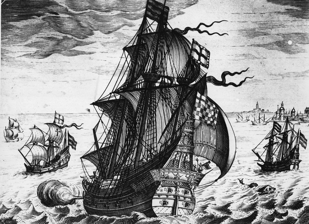 Circa 1550, A Spanish galleon of the mid 16th Century on the high seas