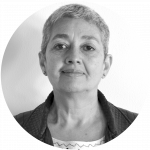 black and white portrait of Hortensia Estrada