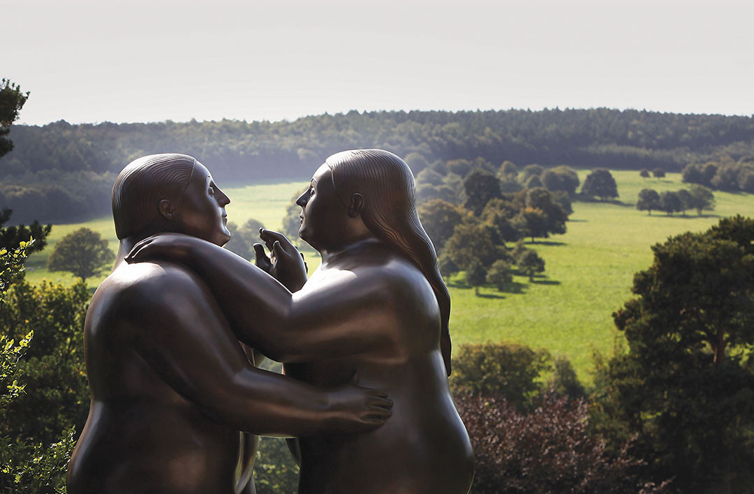 Dancers by artist Fernando Botero adorn the gardens of Chatsworth House on September 10, 2009, Chatsworth, England.