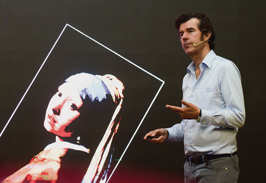 New York-based graphic designer Stefan Sagmeister speaks during 'Why Beauty Matters Talk' lecture at the former residence of Ming dynasty Chinese scholar/painter Tang Yin (aka Tang Bohu) on August 15, 2019 in Suzhou, Jiangsu Province of China.