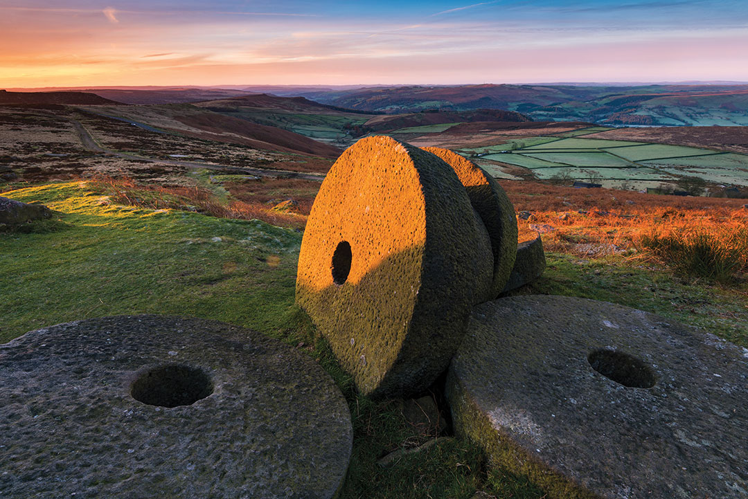 These abandoned millstones are near Stanage Edge, above Hathersage village in the heart of the Peak District National park.