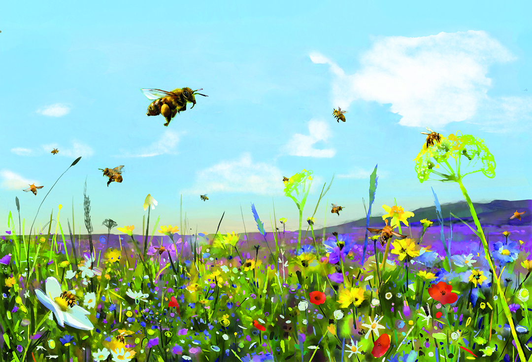 painting of bee with flowers