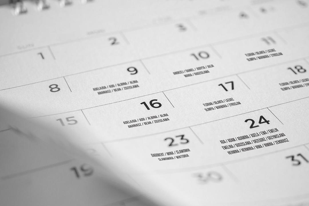 detail of calendar's days