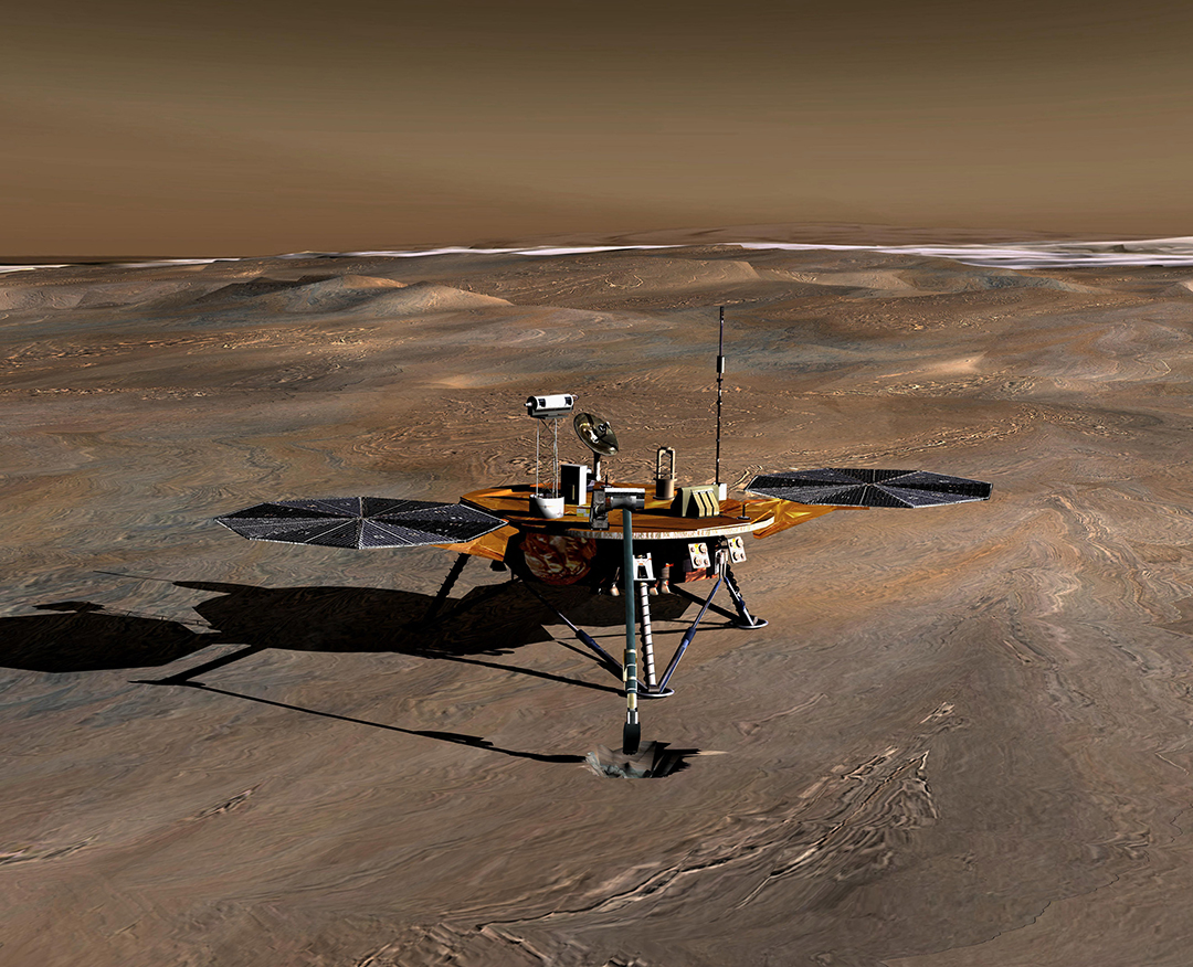 In this handout illustration provided by NASA/JPL, an artist's conception of the Phoenix Mars Lander on the Red Planet.
