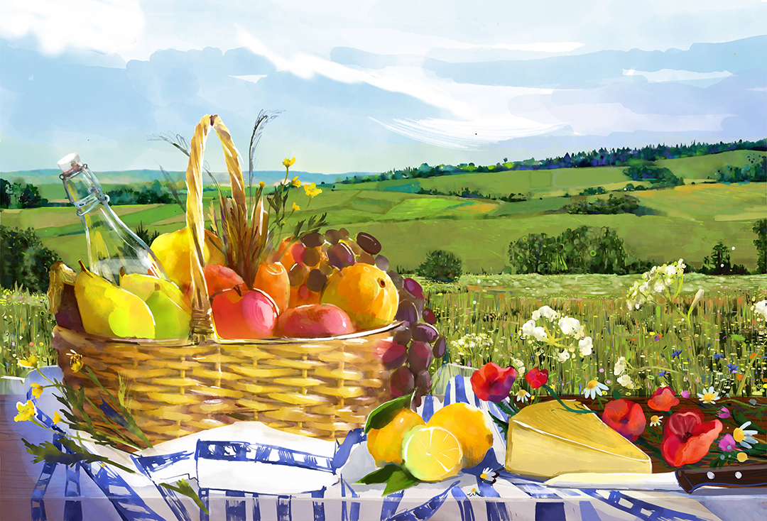 a basket full of fruits painting