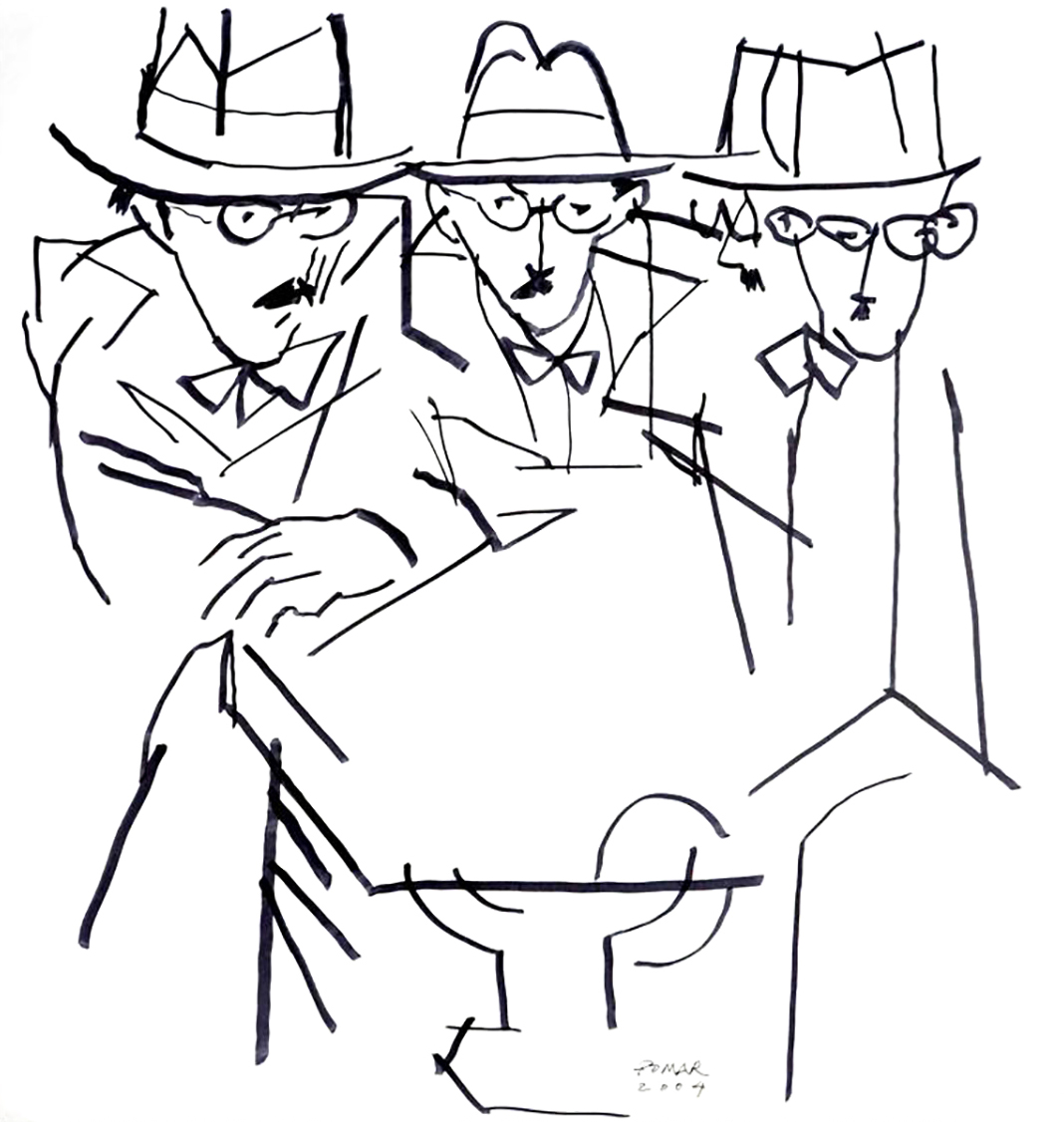 Drawing by Júlio Pomar, a Portuguese Modernist painter, sitting Fernando Pessoa and some of his heteronyms at the same table.