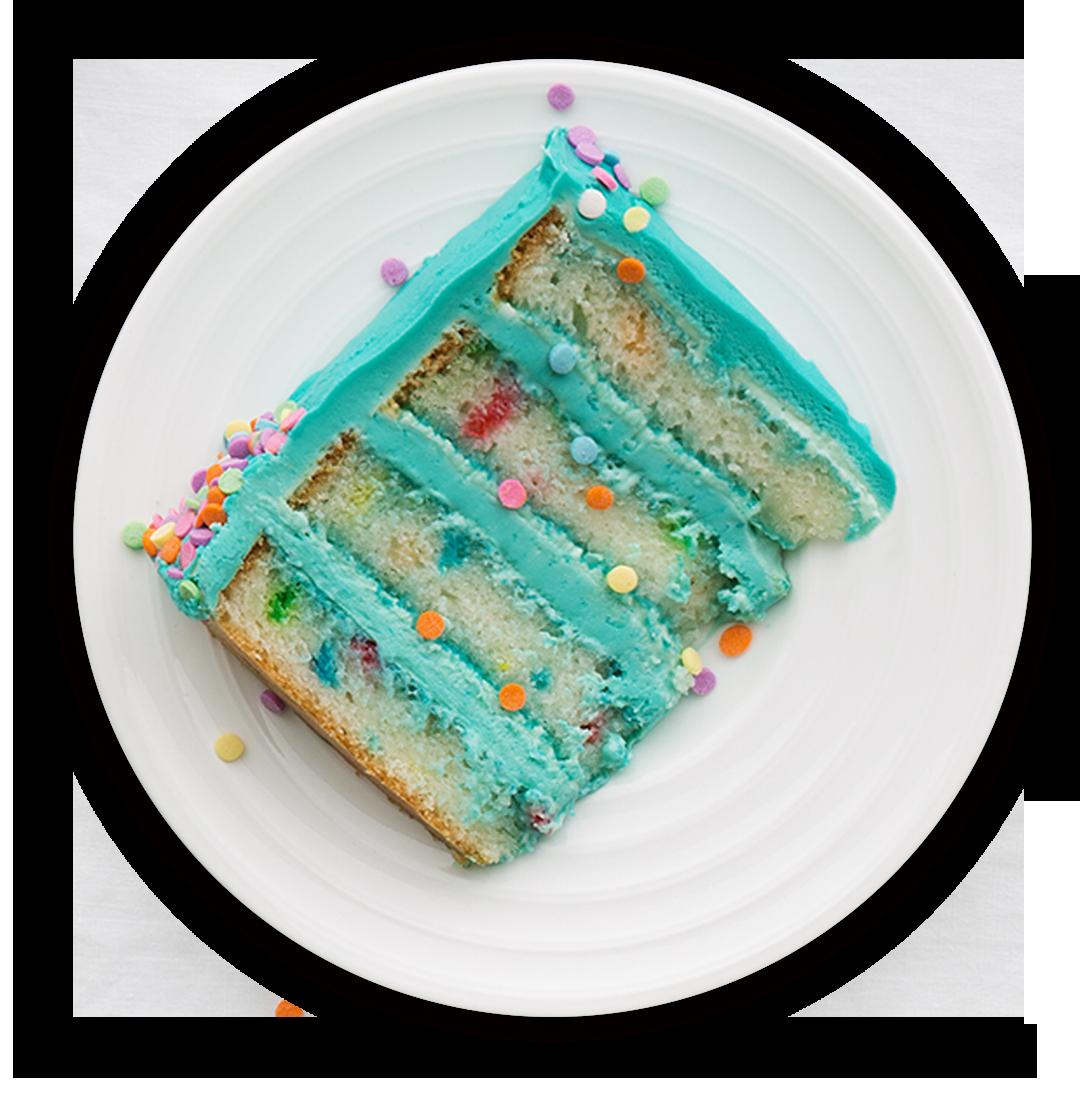 Slice of cake with blue cream