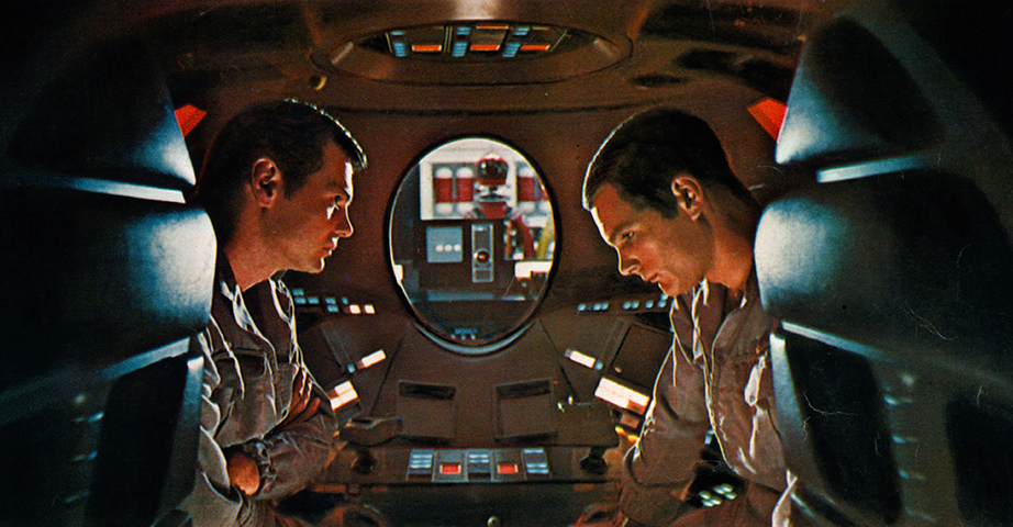 Gary Lockwood and Keir Dullea in capsule together in a scene from the film '2001: A Space Odyssey', 1968. (Photo by Metro-Goldwyn-Mayer/Getty Images)