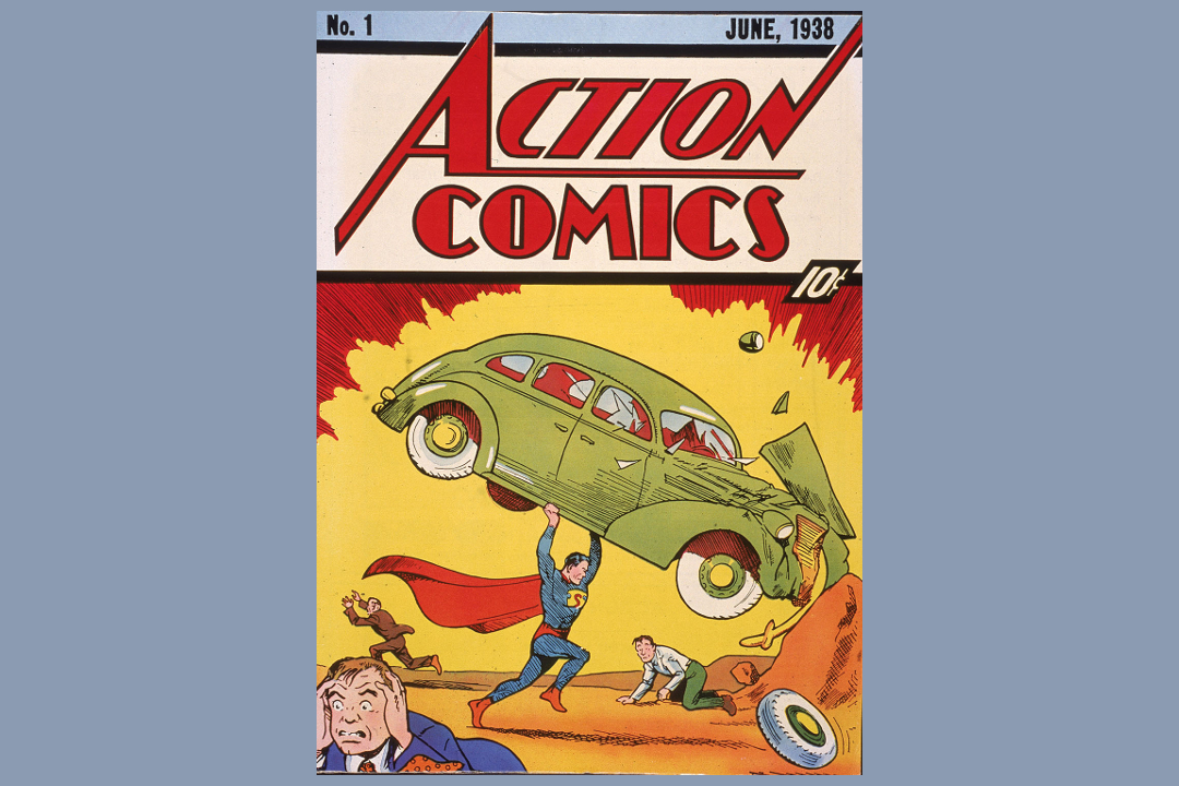 Cover illustration of the comic book Action Comics No. 1 featuring the first appearance of the character Superman (here lifting a car) June 1938.