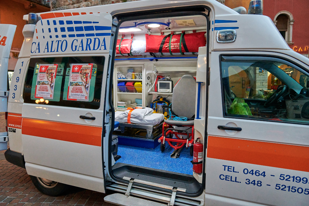 Emergency medical service, view inside the ambulance and the sanitary compartment.