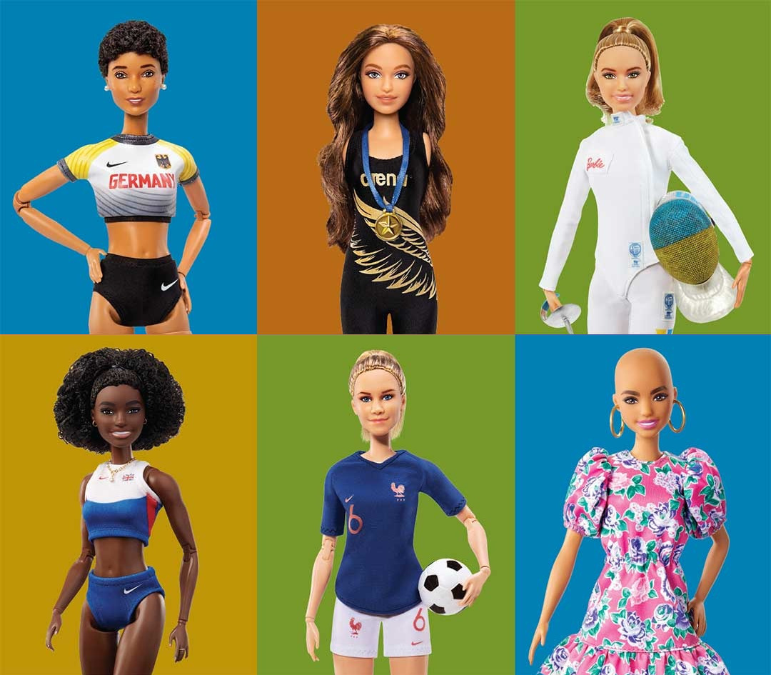 Six different barbies with colorful background